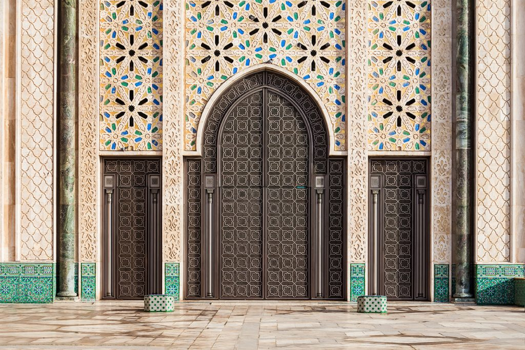 The Hassan II Mosque exterior pattern in Casablanca, Morocco